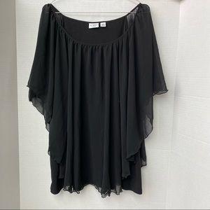 Cato Sheer Sleeve Black Blouse